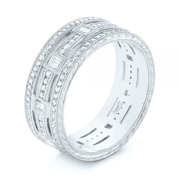 Platinum Custom Diamond Three Strand Women's Wedding Ring - Three-Quarter View -
