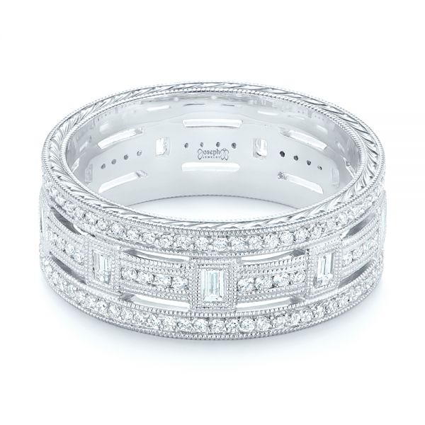 Platinum Custom Diamond Three Strand Women's Wedding Ring - Flat View -  104881 - Thumbnail