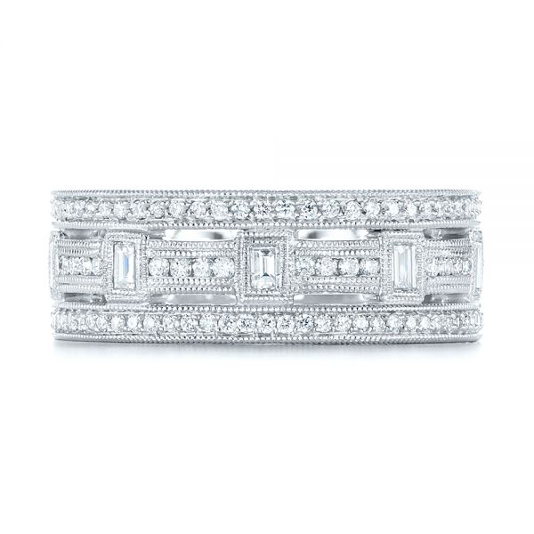 Platinum Custom Diamond Three Strand Women's Wedding Ring - Top View -  104881 - Thumbnail
