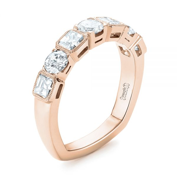 14k Rose Gold 14k Rose Gold Custom Diamond Wedding Band - Three-Quarter View -  103437