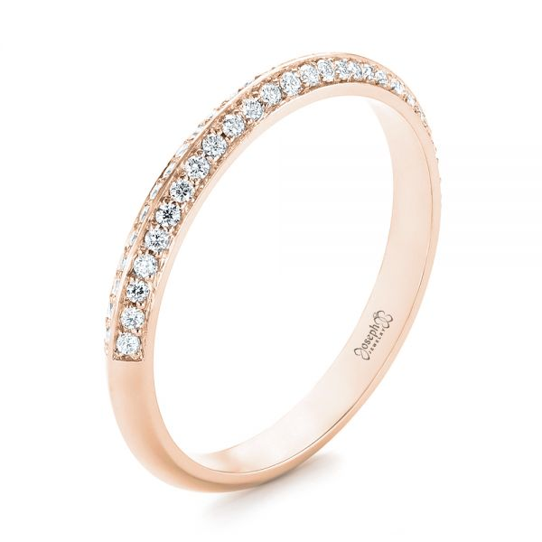 18k Rose Gold 18k Rose Gold Custom Diamond Wedding Band - Three-Quarter View -