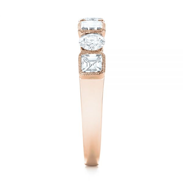 14k Rose Gold 14k Rose Gold Custom Diamond Wedding Band - Side View -  103437
