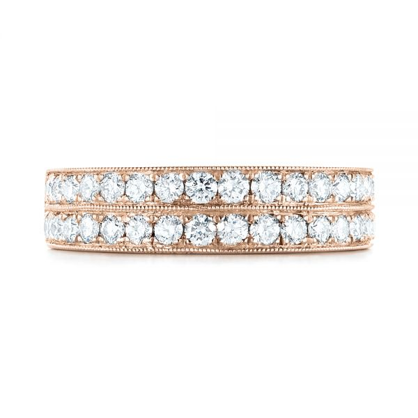 14k Rose Gold 14k Rose Gold Custom Diamond Wedding Band - Top View -