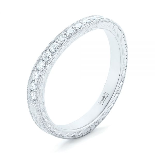 18k White Gold 18k White Gold Custom Diamond Wedding Band - Three-Quarter View -  102887