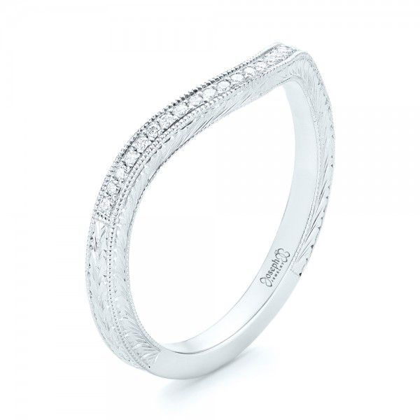 Platinum Platinum Custom Diamond Wedding Band - Three-Quarter View -  103145