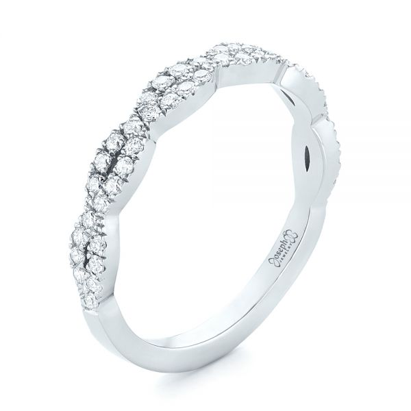 14k White Gold Custom Diamond Wedding Band - Three-Quarter View -