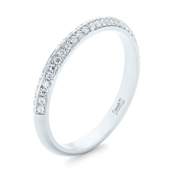 Platinum Custom Diamond Wedding Band - Three-Quarter View -