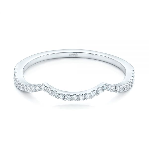 14k White Gold 14k White Gold Custom Diamond Wedding Band - Flat View -