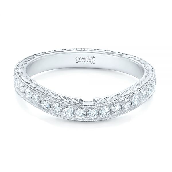18k White Gold 18k White Gold Custom Diamond Wedding Band - Flat View -  102887