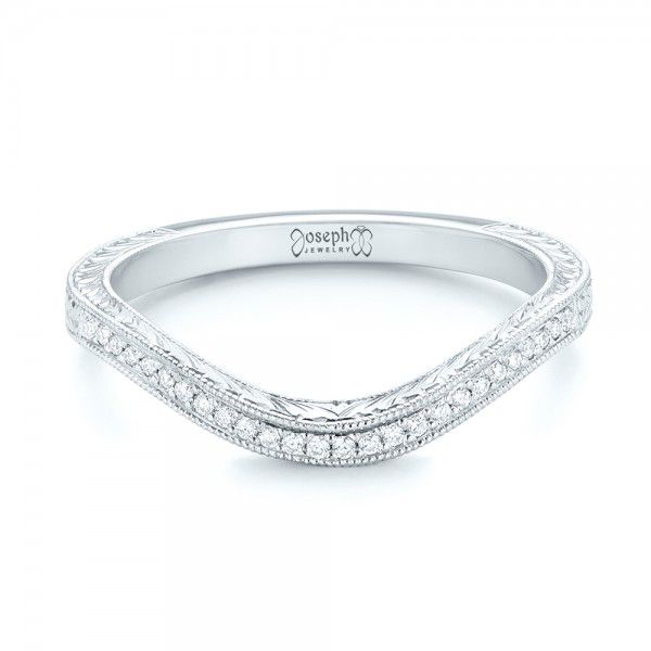 Platinum Platinum Custom Diamond Wedding Band - Flat View -  103145