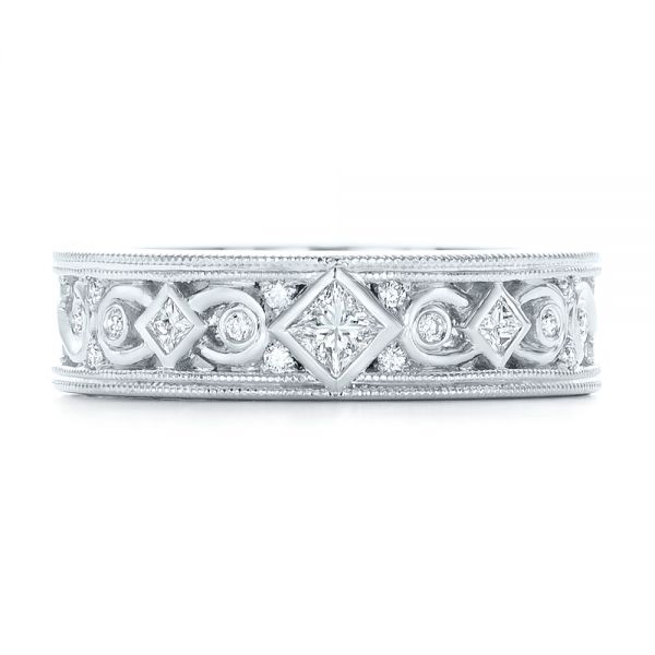 14k White Gold Custom Diamond Wedding Band - Top View -  102426
