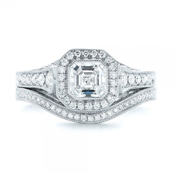 Platinum Platinum Custom Diamond Wedding Band - Top View -  103145