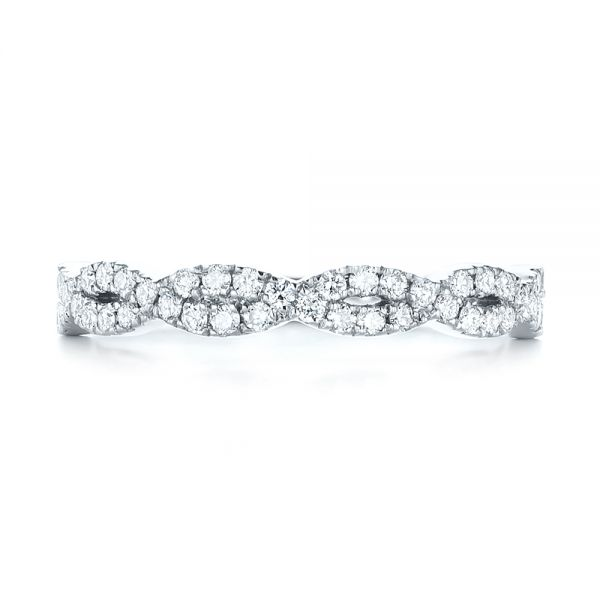 14k White Gold Custom Diamond Wedding Band - Top View -
