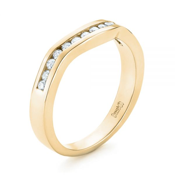 18k Yellow Gold 18k Yellow Gold Custom Diamond Wedding Band - Three-Quarter View -