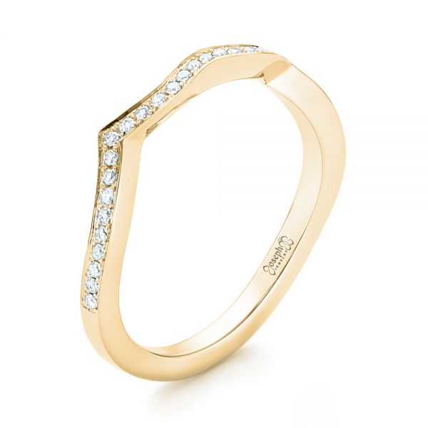 14k Yellow Gold 14k Yellow Gold Custom Diamond Wedding Band - Three-Quarter View -  103399
