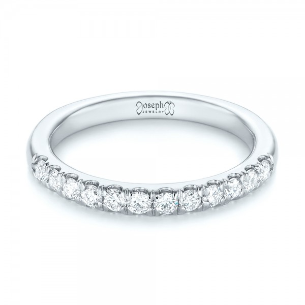 14k White Gold 14k White Gold Custom Diamond Wedding Band - Flat View -  103522