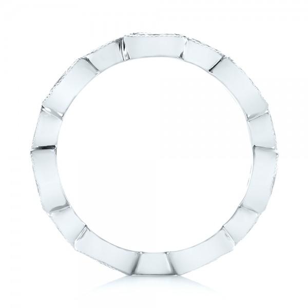 Custom Eternity Diamond Wedding Band - Finger Through View