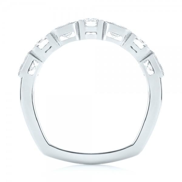 Custom Diamond Wedding Band - Finger Through View