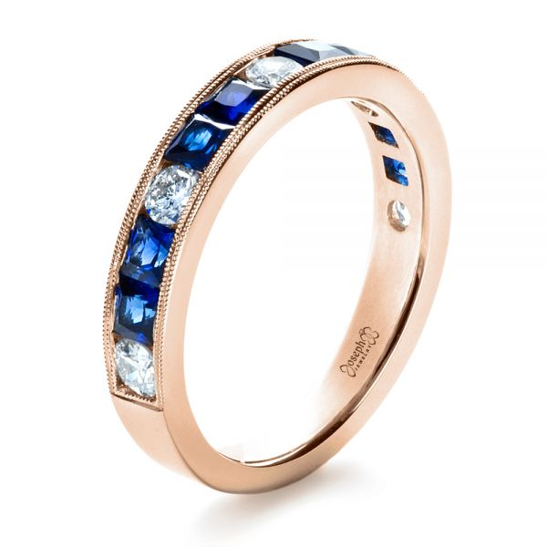 18k Rose Gold 18k Rose Gold Custom Diamond And Blue Sapphire Band - Three-Quarter View -  1388