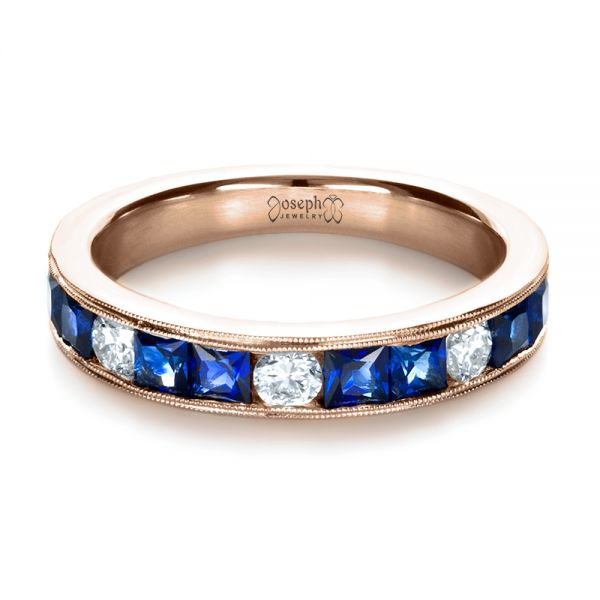 18k Rose Gold 18k Rose Gold Custom Diamond And Blue Sapphire Band - Flat View -  1388
