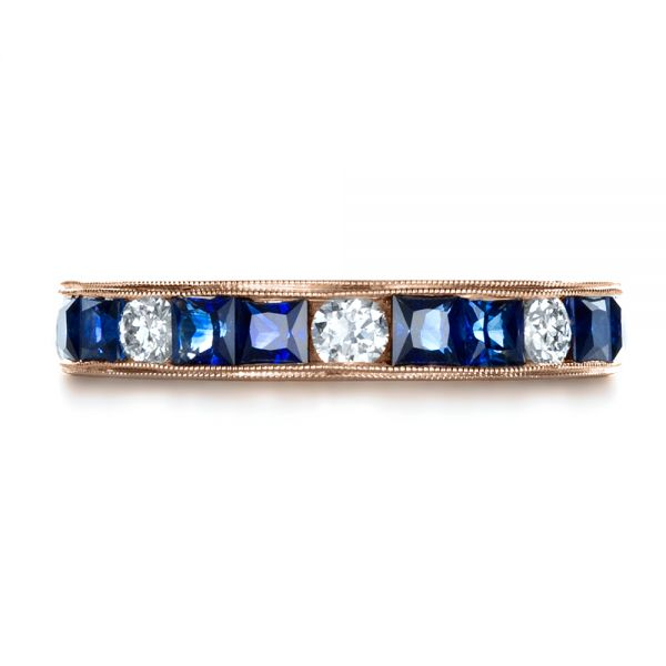 18k Rose Gold 18k Rose Gold Custom Diamond And Blue Sapphire Band - Top View -  1388