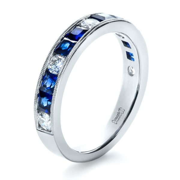 Platinum Custom Diamond And Blue Sapphire Band - Three-Quarter View -