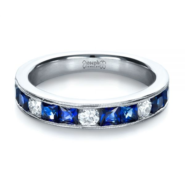 Platinum Custom Diamond And Blue Sapphire Band - Flat View -