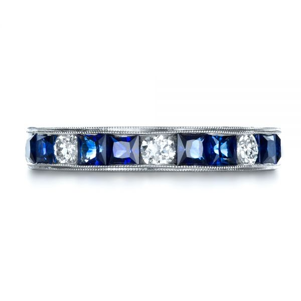 Platinum Custom Diamond And Blue Sapphire Band - Top View -