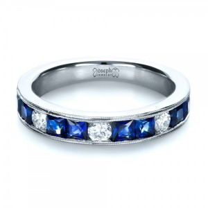 Custom Diamond and Blue Sapphire Band