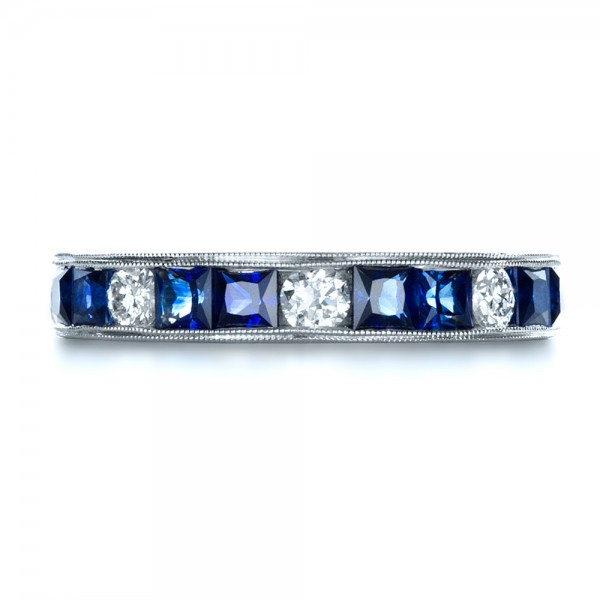 Custom Diamond and Blue Sapphire Band - Top View