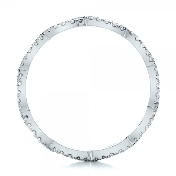 Custom Diamond and Blue Sapphire Wedding Band - Finger Through View