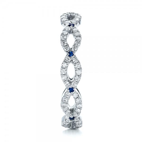 Custom Diamond and Blue Sapphire Wedding Band - Side View