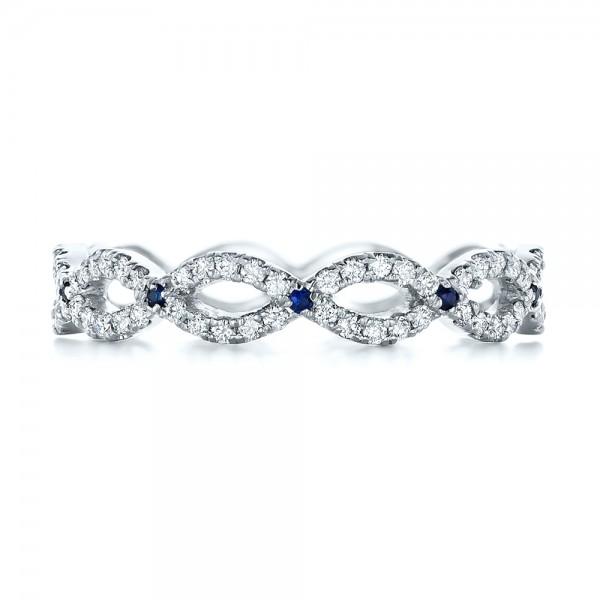 Custom Diamond and Blue Sapphire Wedding Band - Top View