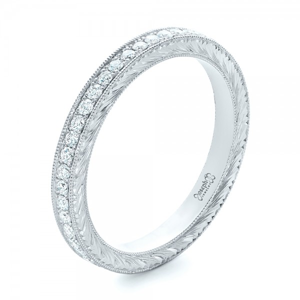 Custom Diamond and Hand Engraved Eternity Wedding Band