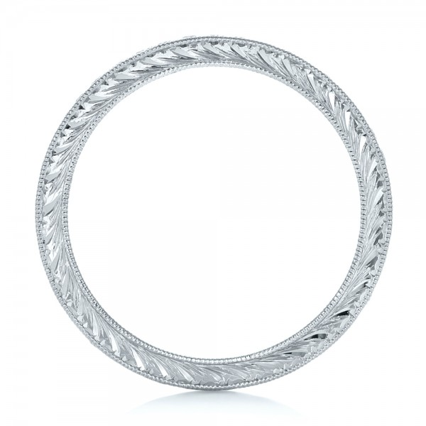 Custom Diamond and Hand Engraved Eternity Wedding Band - Finger Through View