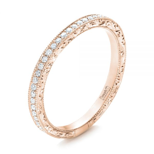 18k Rose Gold 18k Rose Gold Custom Diamond And Hand Engraved Wedding Band - Three-Quarter View -  101617