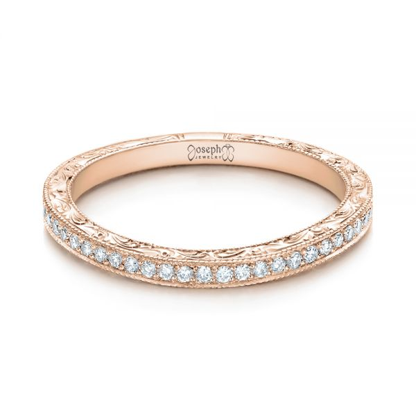 18k Rose Gold 18k Rose Gold Custom Diamond And Hand Engraved Wedding Band - Flat View -  101617