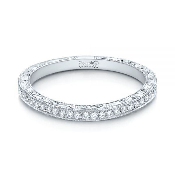 18k White Gold 18k White Gold Custom Diamond And Hand Engraved Wedding Band - Flat View -  101617