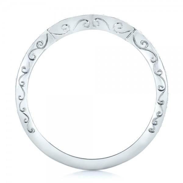 Custom Diamond and Hand Engraved Wedding Band - Finger Through View