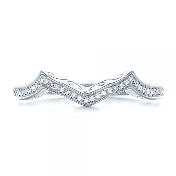 Custom Diamond and Hand Engraved Wedding Band - Top View