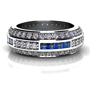 Custom Diamond and Princess Cut Blue Sapphire Wedding Band