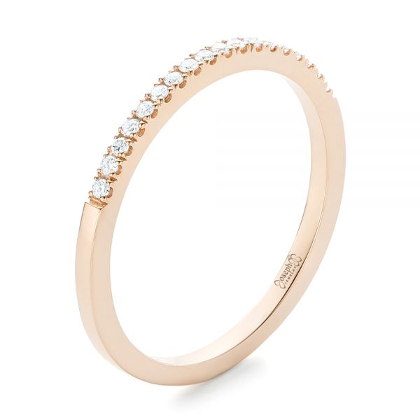 Custom Diamond and Rose Gold Wedding Band - Three-Quarter View -  102295 - Thumbnail