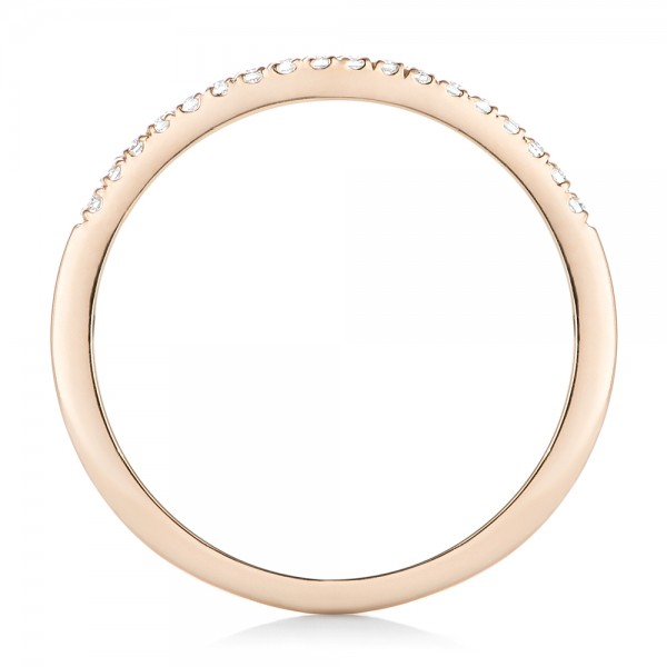 Custom Diamond and Rose Gold Wedding Band - Finger Through View
