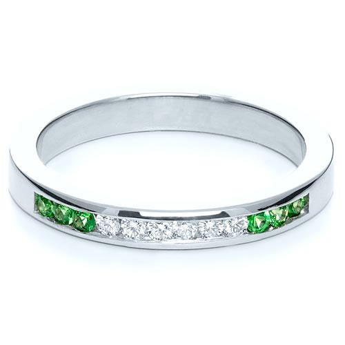 Custom Diamond and Tsavorite Anniversary Band - Laying View