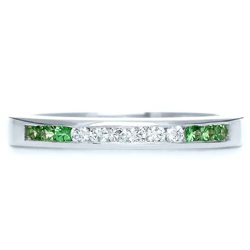 Custom Diamond and Tsavorite Anniversary Band - Top View