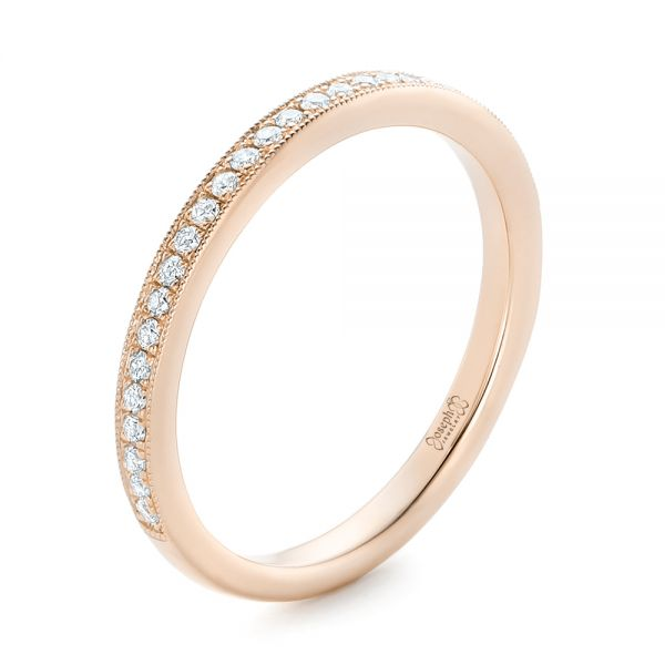 14k Rose Gold 14k Rose Gold Custom Diamond Wedding Band - Three-Quarter View -
