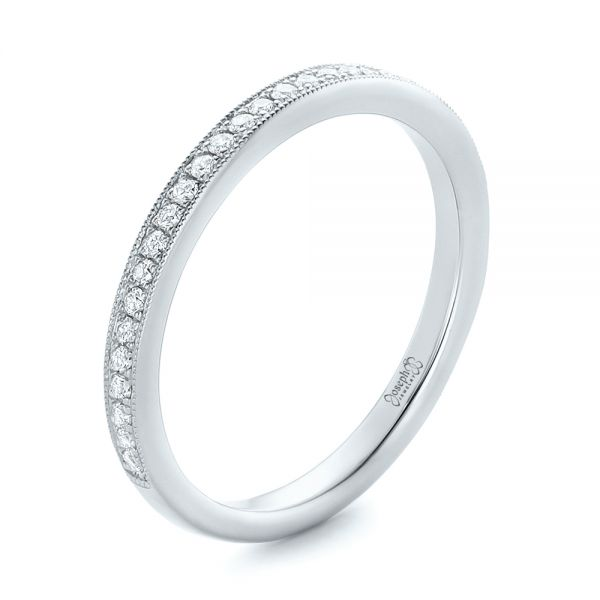 18k White Gold 18k White Gold Custom Diamond Wedding Band - Three-Quarter View -