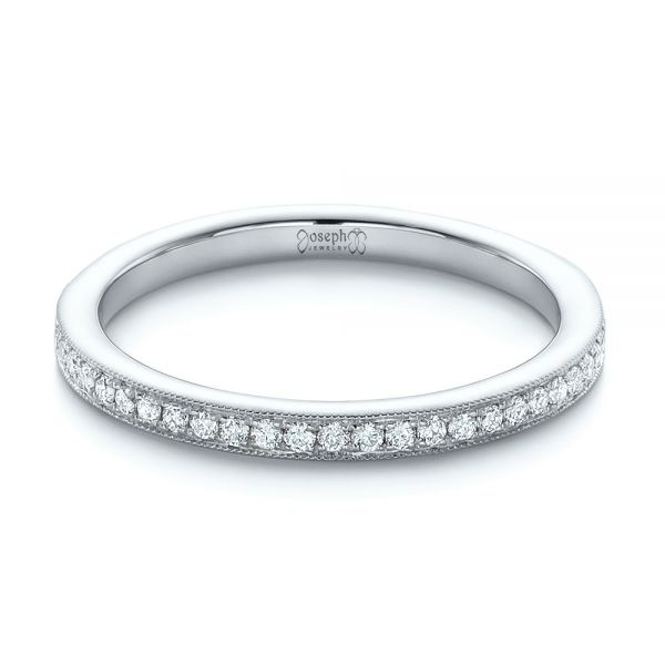 18k White Gold 18k White Gold Custom Diamond Wedding Band - Flat View -