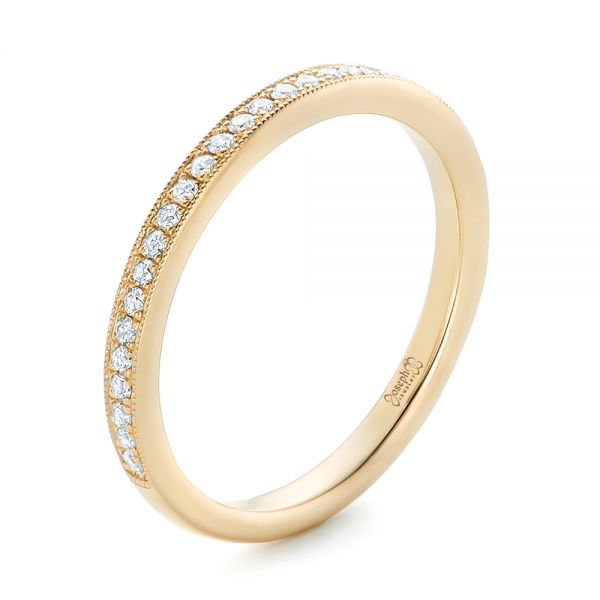 Custom Diamond and Yellow Gold Wedding Band - Three-Quarter View -  102237 - Thumbnail