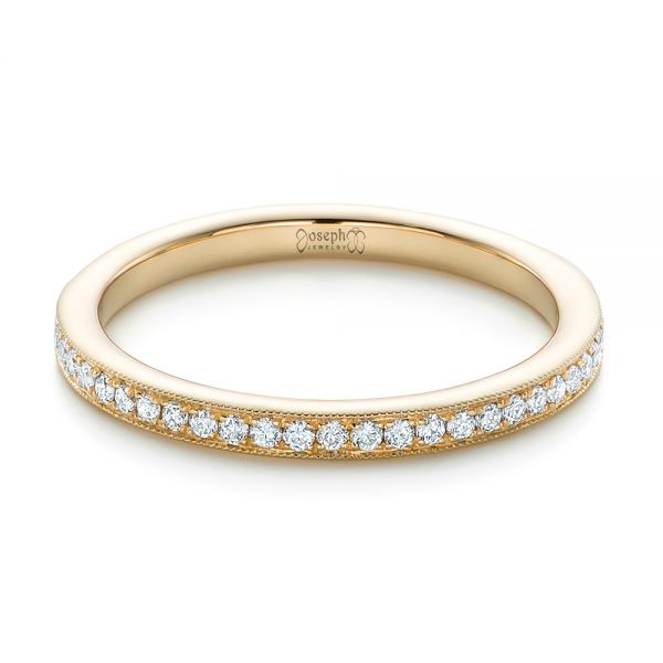 Custom Diamond and Yellow Gold Wedding Band - Flat View -  102237 - Thumbnail